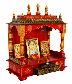 Handpainted Wooden Home Temple Rajasthani
