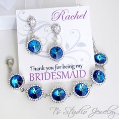 Bermuda Blue Bridesmaid Necklace and Earrings Gift Set - from T's Studio Jewelry