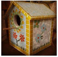 Handmade mosaic birdhouse by Iammosaic.