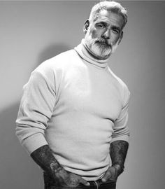 My Sears catalogue photo! I kinda like this shot. I'm leaner now but I still think it's a cool sweater shot. I'm not a sweater guy! Grey White Hair, Men With Grey Hair, Gray, Mode Masculine, Anthony Varrecchia, Moustache, Grey Beards, Beard Styles For Men, Bear Men