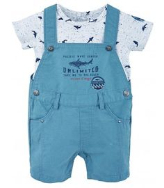 SHORT OVERALLS AND T-SHIRT - BABY CLOTHING - 0-2 YEARS: Baby - Sucre d'Orge Dungarees, Overall Shorts, T Shirt, Short Overalls, Clothes, Women, Style, Baby, Fashion