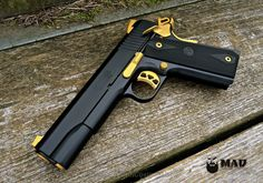 Ruger 1911 in MAD Black and Cerakote Gold - Mad Custom Coating 1911 Grips, 1911 Pistol, Revolver, Custom 1911, Custom Guns, Zombie Weapons, Weapons Guns, Zombie Apocalypse, Ruger 1911