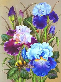 DPF diamond embroidery Flowers bees diamond painting cross stitch crafts diamond mosaic kit full square rhinestone home decor Bee Painting, Thread Painting, Watercolor Paintings, Painting Flowers, Mosaic Kits, Mosaic Flowers, Cross Stitch Pictures, Iris Flowers, Floral Flowers