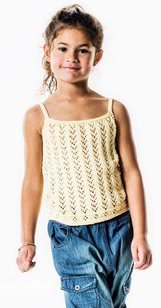 Strikkeopskrift   Strik en superfin pigetop   Sød sommertop i strik til piger   Masser af strikke- og hækleopskrifter på børnetøj og fint strik til babyer