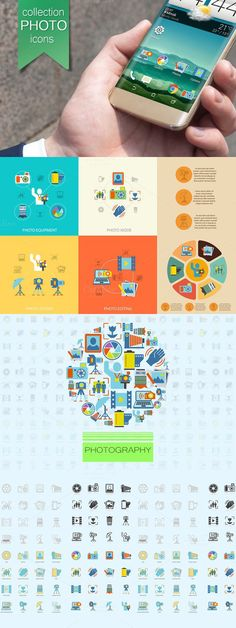 Photography flat vector set