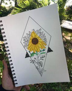 Girasoles+figuras geométricas= dibujo genial Art Drawings Sketches Simple, Pencil Art Drawings, Easy Drawings, Drawing Ideas, Doodle Art Drawing, Painting & Drawing, Dibujos Zentangle Art, Sunflower Art, Art Sketchbook