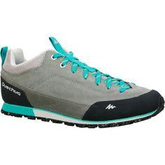 Dámská kožená obuv Arpenaz 500 na turistiku šedo-zelená