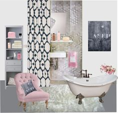 """""""pink and grey bathroom"""" by akaclem on Polyvore"""