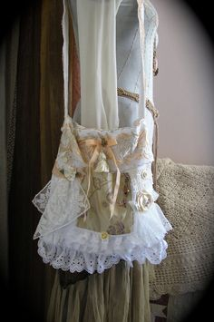 Cottage Shabby Bag romantic lace ruffles by TatteredDelicates, $75.00