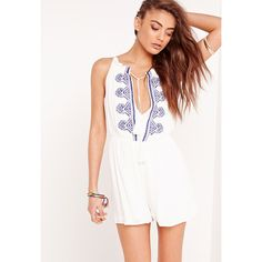 b6eff977360 Missguided Cheesecloth Embroidered Playsuit ( 40) ❤ liked on Polyvore  featuring jumpsuits