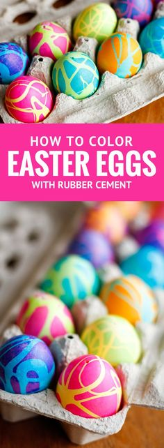 Coloring Easter Eggs w/ Rubber Cement -- dyeing Easter eggs with gel food coloring and this rubber cement technique produces some spectacularly high contrast, gorgeous abstract designs! | unsophisticook.com