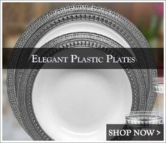 Elegant Disposable Dinnerware - Plastic Wedding Plates - Posh Party Supplies ™ | wedding | Pinterest | Wedding plates Napkins and Plastic dinnerware & Elegant Disposable Dinnerware - Plastic Wedding Plates - Posh Party ...