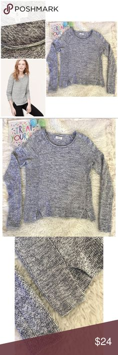 "EUC Lou & Grey Bluish Gray Marled Slits Sweater Still in great pre-loved condition marled Knit sweater from ally & Grey in size x-small. Probably can fit a small too. No major snags or flaws. Small slit on the bottom. Measure about 24"" length, 17.5"" pit to pit,  26.5"" sleeves. ❌Model's pic is similar style and is for visual aid only.❌No trades or modeling. Always open to reasonable offers. Bundle and save 15% or more. Thank you‼️ Lou & Grey Sweaters Crew & Scoop Necks"
