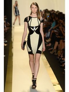 Herve Leger by Max Azria nude and black cutout dress on the runway during Mercedes Benz Fashion Week Spring/Summer 2013 in New York City. #NYFW #models