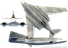 HG III was developed from for more high speed & better maneuverbility. both jet engines embedded in the wing near root of wings. degree of swept wing swepd 35 degree & 45 degree in 2 groups. Safety margin of top speed is Mach Luftwaffe, Ww2 Aircraft, Military Aircraft, Me262, Messerschmitt Me 262, Experimental Aircraft, Ww2 Planes, Aircraft Design, Aviation Art