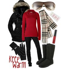 Keep Warm! North face jacket, a red sweater, black skinny jeans, Burberry scarf, black boots Holiday Outfits, Fall Winter Outfits, Winter Wear, Autumn Winter Fashion, Winter Clothes, Ski Clothes, Cozy Winter, Winter Time, Ski Fashion