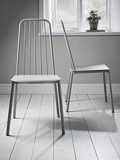 Two Metal Café Chairs - Grey
