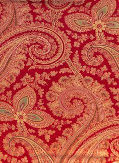 Antique 1870 Turkey Red Paisley Fabric