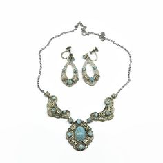 Mid century silver plated filigree necklace and earrings set with blue glass turquoise stones, screw back earrings, circa by CardCurios on Etsy Screw Back Earrings, Vintage Jewellery, Turquoise Stone, Vintage Silver, Filigree, Metal Working, Earring Set, 1940s, Jewelry Sets