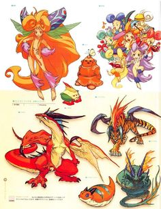 From Capcom Artbook Character Design Animation, Character Art, Breath Of Fire, Tarot, Monster Design, Creature Design, Art Drawings, Robots Drawing, Drawing Faces