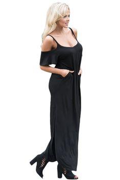 e6cc6c27306 Black Sassy Open Shoulder Maxi Dress  dress  dresses  blackdress  maxi   maxidress