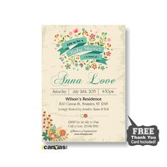 Rustic floral baby shower invitation. Rustic baby shower. Printable baby boy baby girl shower invitations. Floral Baby Shower Invites 50 by 800Canvas on Etsy