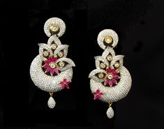 Indian Jewelry CZ AD Bollywood Famous Earrings Designer Swam Ear Drops 177