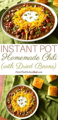Instant Pot Chili, made using dried beans, is the perfect comfort food for a fall or wintry evening. It's also a great dish to feed a crowd or for game day. From Paint the Kitchen Red #instantpot #chili #beans
