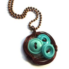 Wire Birds Nest Pendant Necklace with Aqua buttons by buttonsoupjewelry, $21.00