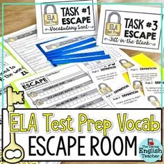 ELA Test Prep Vocabulary Escape Room Activity