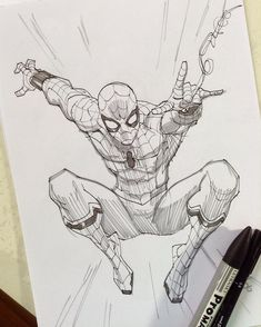 Fantastic Learn To Draw Comics Ideas Drawing Marvel Comics Spider-Man Homecoming by ROGER CRUZ HQ could learn a lesson in inks and pencils. -Drawing Marvel Comics Spider-Man Homecoming by ROGER CRUZ HQ could learn a lesson in inks and pencils. Spiderman Sketches, Avengers Drawings, Spiderman Drawing, Spiderman Art, Drawing Cartoon Characters, Character Drawing, Cartoon Drawings, Comic Drawing, Marvel Comics