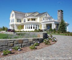 Cobblestone Driveway, Bay Harbor Michigan - traditional - exterior - other metro - Monarch Stone International    sloping lot? Cobblestone Driveway, Brick Driveway, Traditional Exterior, Traditional Landscape, Front Yard Design, My Dream Home, Dream Homes, Luxury Living, Beautiful Homes