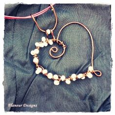 love pendent wire jewelry copper wire weaved with Czech glass beads