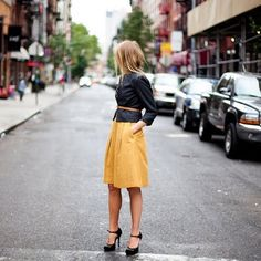love the color combo here. Again, I cant wear long skirts- but think it could work well with a shorter skirt as well.