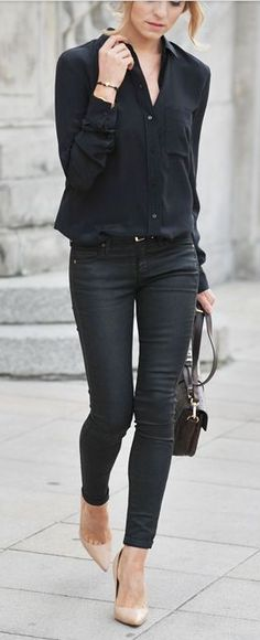 413b408f4bd all black outfit with nude heels 50 Great Fall Outfits On The Street - Style  Estate -