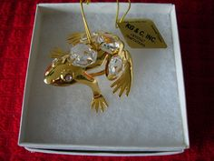 KG & C Inc  Gold Plated  Crystal Temptations Holiday Ornament Frog Figurine