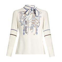 Peter Pilotto Neck-tie embroidered cady top ($1,365) ❤ liked on Polyvore featuring tops, white multi, tie neck top, neck-tie, white necktie, peter pilotto tops and velvet top