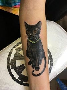 Great Work Black Cat Tattoo On Sleeve