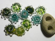 Lampwork Beads Borosilicate SLIDES Two Sisters Designs 061015A by TwoSistersDesignss on Etsy