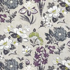 lotus flower - charcoal fabric | Designers Guild