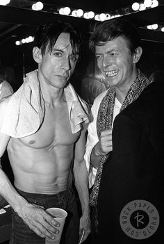 Iggy Pop and David Bowie NY, 1986 Black and white Photo by Larry Busacca