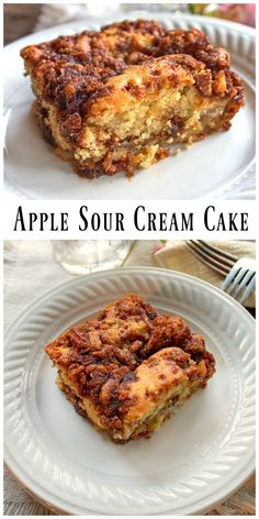 Apple Sour Cream Cake is tender and moist.  With a layer of brown sugar and pecans in the center as well as on top it'll quickly become a favorite. via @https://www.pinterest.com/BunnysWarmOven/bunnys-warm-oven/