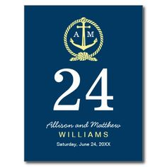 Navy Blue and Yellow | Wedding Table Number Card Post Cards