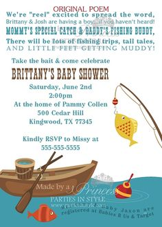Fishing Themed Baby Shower Invitation....LOVE this! Maybe a theme for Ally's baby shower?!