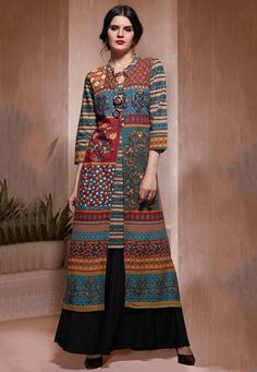 Printed Cotton Jacket Style Kurta in Multicolor Abaya Fashion, Ethnic Fashion, Indian Fashion, Ethnic Dress, Indian Ethnic Wear, Moslem Fashion, Blouse Batik, Kurta Designs Women, Designs For Dresses