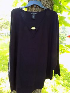 INC Womens knit top Black 3X 3/4 dolman sleeve New with tag International Concep #INCInternationalConcepts #KnitTop