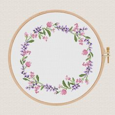 Home sweet home cross stitch pdf pattern Lavender Helleborus flowers wreath cross stitch modern Round cross stitch Easy Counted Chart diy - Flowers from the cross stitch pattern wreath The pattern comes as a PDF file that you will be able - Cross Stitch Pillow, Cross Stitch Borders, Cross Stitch Flowers, Modern Cross Stitch, Cross Stitch Charts, Cross Stitch Designs, Cross Stitching, Cross Stitch Embroidery, Embroidery Patterns
