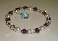 Girl's Swarovski Crystal Heart Bracelet /  birthstone