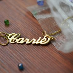 18K Gold Plated Sterling Silver Carrie Name Necklace