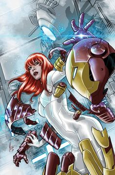"""comic-book-ladies: """"Mary Jane Watson variant cover by Marco Checchetto """" Marvel - Iron Man"""